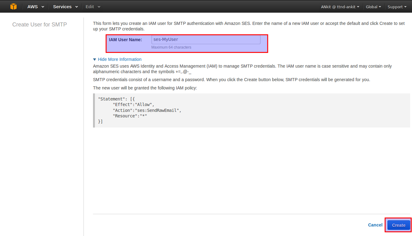 Configuring server to relay email through Amazon SES (Simple
