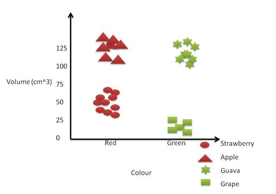 Figure 1. Sample 2-dimensional representation of fruits
