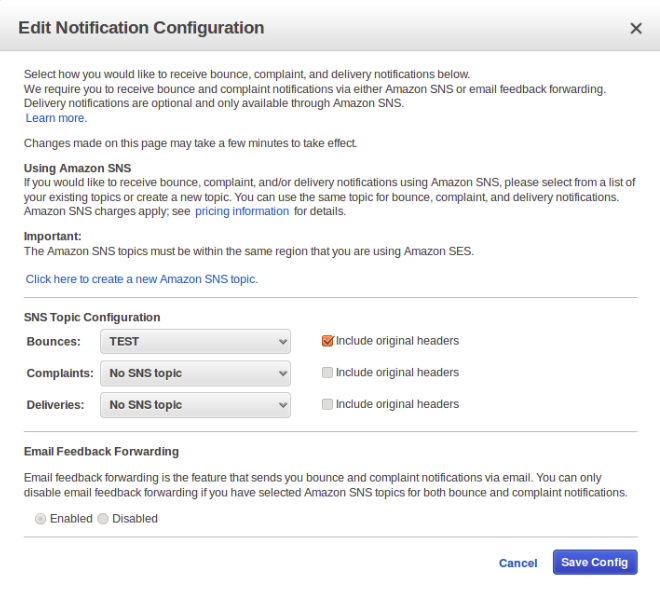 Setting AWS SES Bounce Notification | TO THE NEW Blog