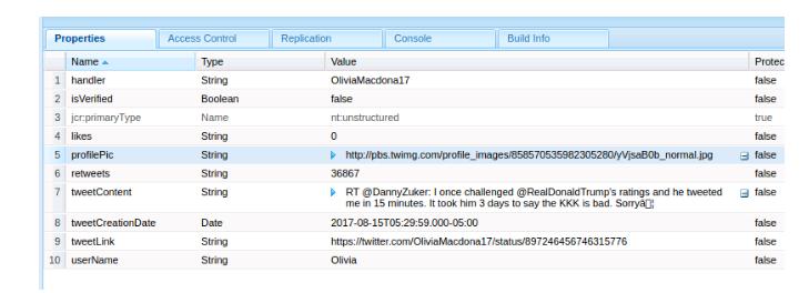 creating a nt:unstructured node  twitter input talend